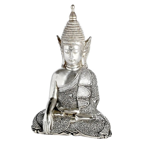 Sitting Buddha Poly Design Sculpture In Antique Silver