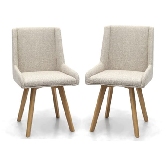 Product photograph showing Skandi Natural Flax Effect Dining Chair In A Pair