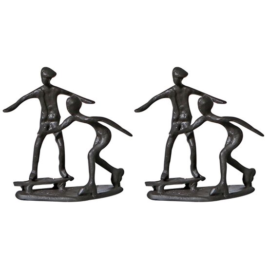View Skating iron set of 2 design sculpture in burnished bronze
