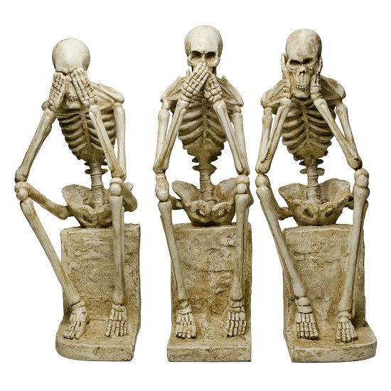 Skeleton Statues Mimicking Three Wise Monkeys Resin Sculpture