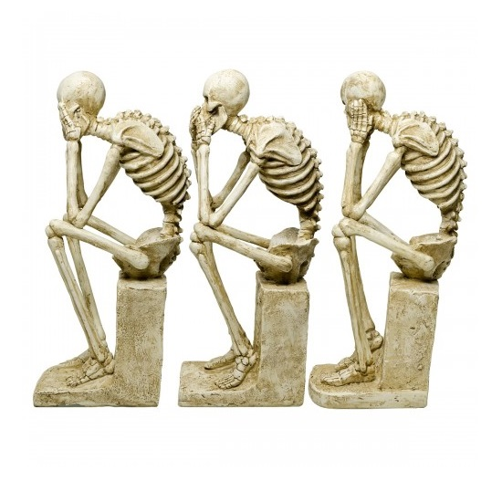 Skeleton Statues Mimicking Three Wise Monkeys Resin Sculpture_2
