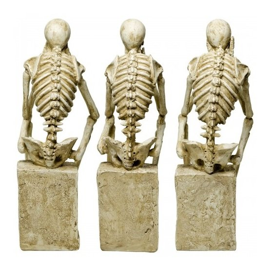 Skeleton Statues Mimicking Three Wise Monkeys Resin Sculpture_3