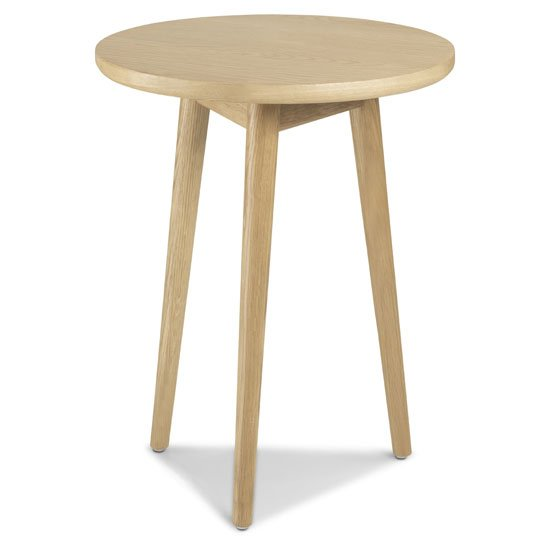 Skier Wooden Circular Lamp Table In Light Solid Oak_1