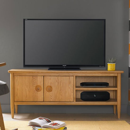 Skier Wooden TV Unit In Light Solid Oak_1