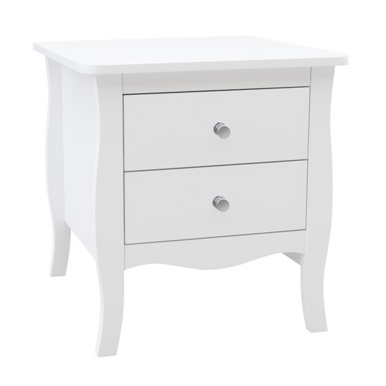 Skyler Wooden Bedside Cabinet In White With 2 Drawers