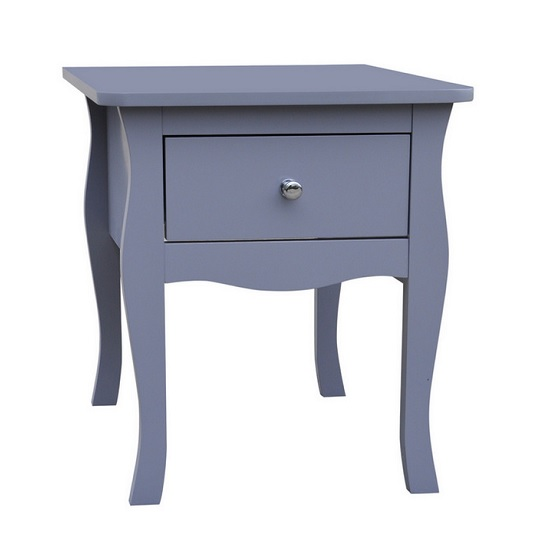 Skyler Wooden Bedside Cabinet In Grey With 1 Drawer