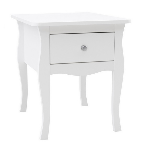 Skyler Wooden Bedside Cabinet In White With 1 Drawer