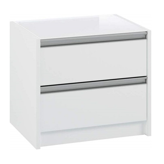 Skyline Wooden Bedside Cabinet In White With 2 Drawers