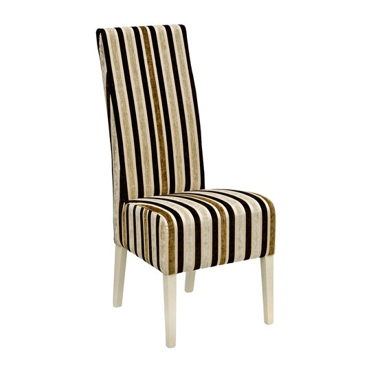 Skyline High Back Clio Stripe Dining Chair In Stone Finish
