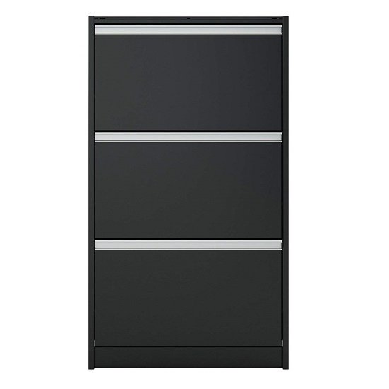 Skyline Shoe Storage Cabinet In Black With 3 Drawers_2