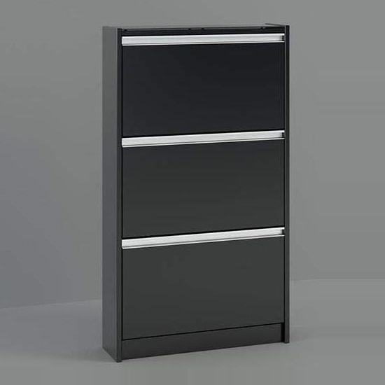 Skyline Shoe Storage Cabinet In Black With 3 Drawers_1