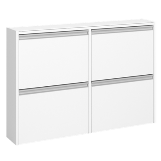 Skyline Wooden Shoe Storage Cabinet In White With 4 Flap Doors