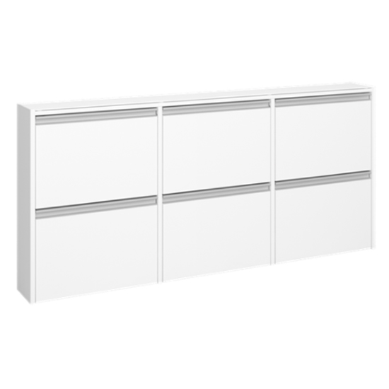 Skyline Wooden Shoe Storage Cabinet In White With 6 Flap Doors