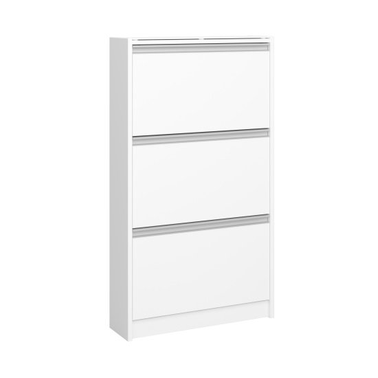 Skyline Shoe Storage Cabinet In White With 3 Drawers