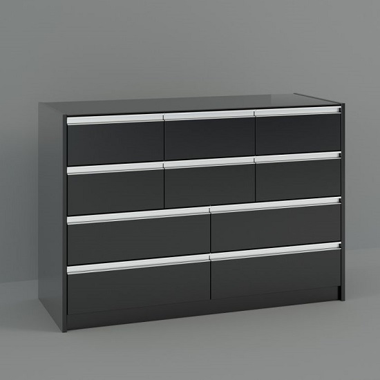 Skyline Wooden Tall Wide Chest Of Drawers In Matt Black