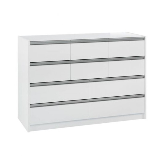 Skyline Wooden Tall Wide Chest Of Drawers In Matt White
