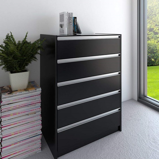 Skyline Wooden Chest Of Drawers In Black With 5 Drawers