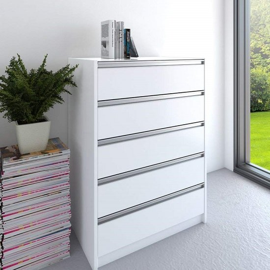 Skyline Wooden Chest Of Drawers In White With 5 Drawers