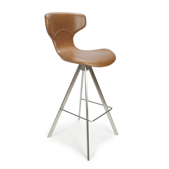 Skypod Curved Back Leather Effect Bar Stool In Urban Tan