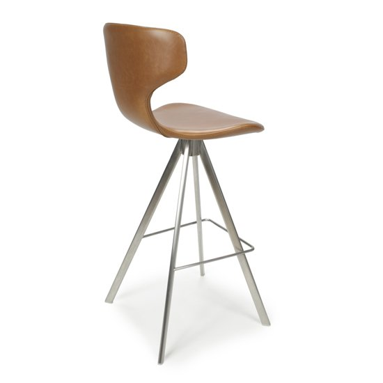 Skypod Curved Back Urban Tan Leather Effect Bar Stools In Pair_3