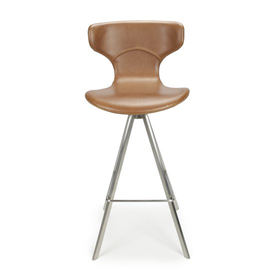 Skypod Curved Back Urban Tan Leather Effect Bar Stools In Pair_5