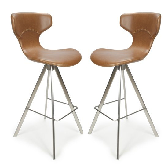 Skypod Curved Back Urban Tan Leather Effect Bar Stools In Pair