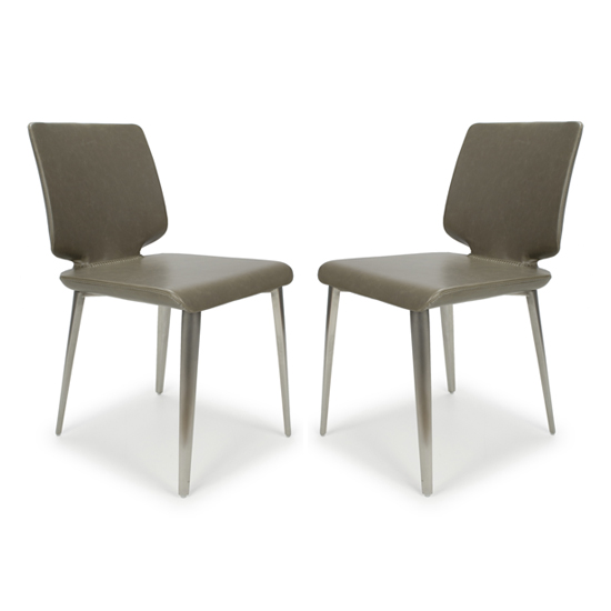 Skypod Square Armless Leather City Grey Dining Chairs In Pair