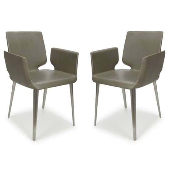 Skypod Square Leather City Grey Dining Chairs In Pair