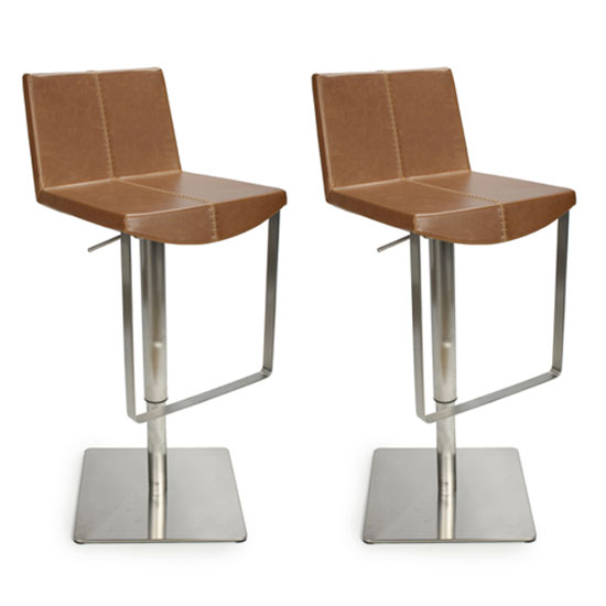 Skypod Urban Tan Bar Stool In Pair With Brushed Steel Base_1