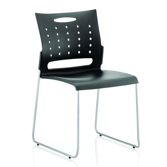 Slide Office Visitor Chair In Black No Arms