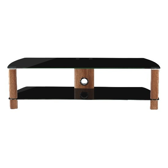 Sligo Large LCD TV Stand In Black Glass And Walnut_1