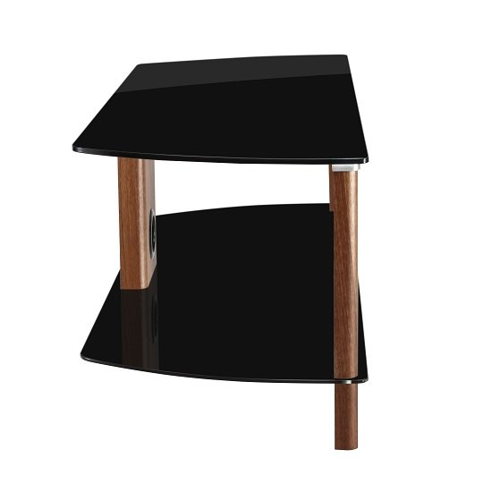 Sligo Large LCD TV Stand In Black Glass And Walnut_2