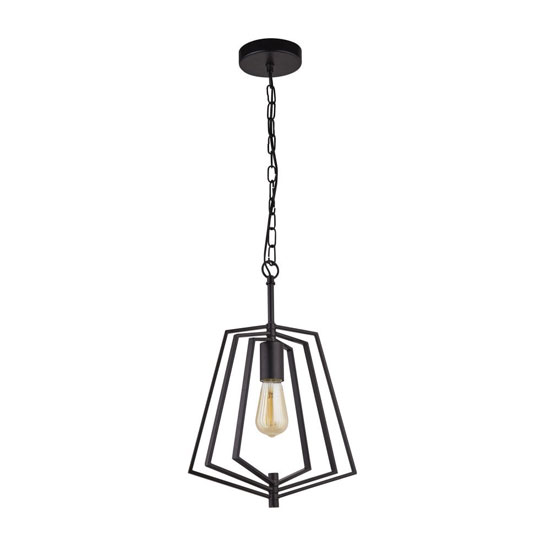 Slinky Wall Hung Metal Adjustable 1 Pendant Light In Matt Black