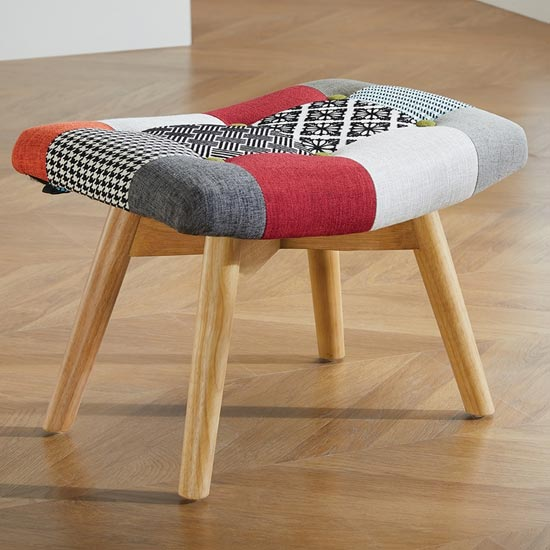 View Sloane fabric foot stool in patched