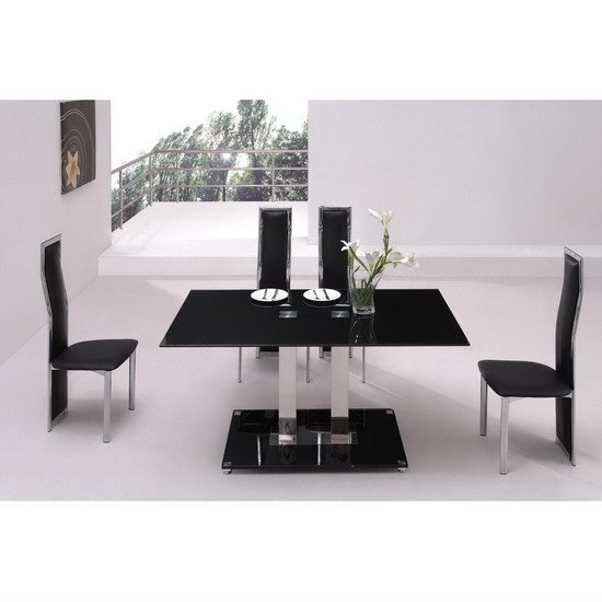 Dining Tables With Benches Design Small Black Dining Table And 4