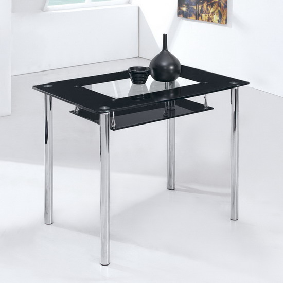 Rimini Small Black Glass Dining Table Only