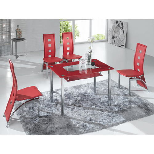 Rimini Small Red Glass Dining Table with 4 Red D215 Chairs