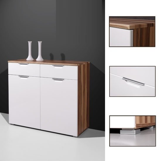 Event Sideboard In Gloss White Walnut With 2 Doors And 2 Drawers