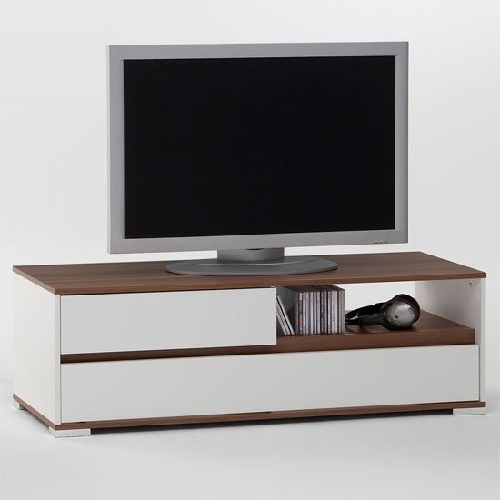 Smart Wooden TV Stand In White And Plumtree