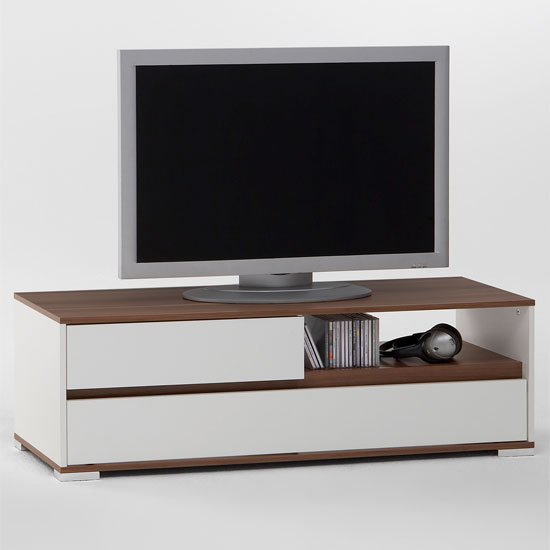 smart white walnut tv stand - How A Decorate A One Room Apartment