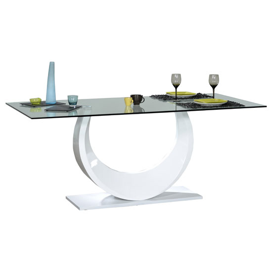 Smooth Clear Glass Top Dining Table With White High Gloss Base