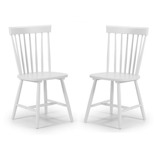 Snodland Wooden Dining Chair In White Lacquer In A Pair