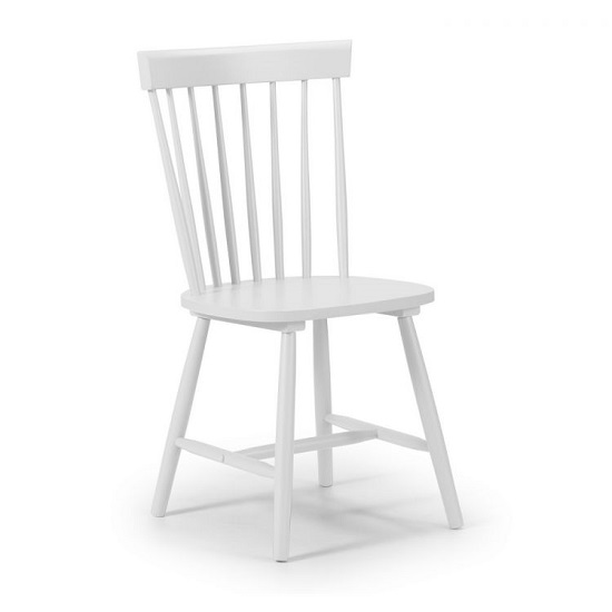 Snodland Rectangle Wooden Dining Chair In White Lacquer