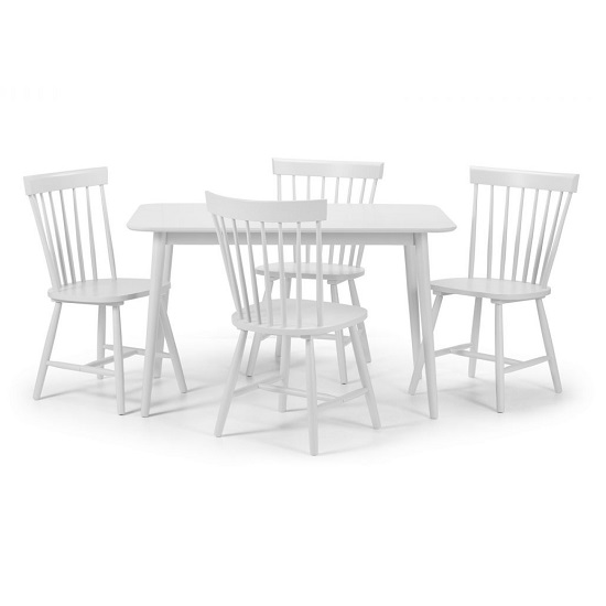 Snodland Wooden Dining Table In White With Four Chairs