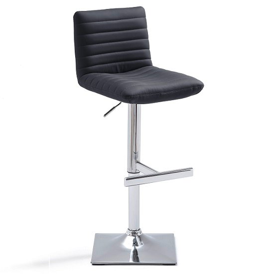 Snow Bar Stool In Black Faux Leather With Square Chrome Base