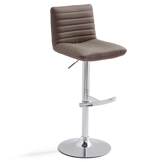 Snow Bar Stool In Brown Faux Leather With Round Chrome Base