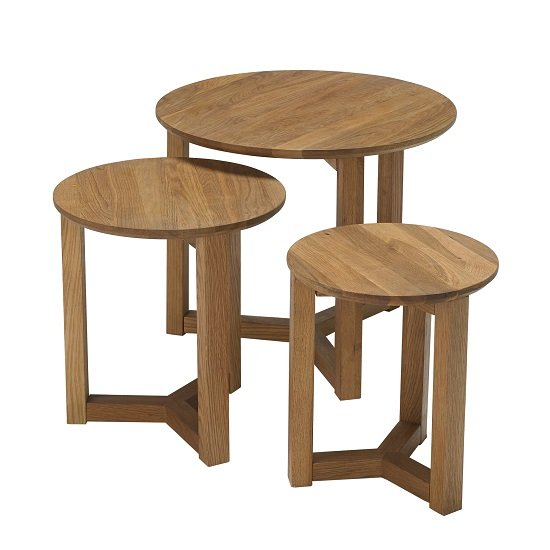 Snowden Wooden Nest of 3 Tables Round In Oak_2
