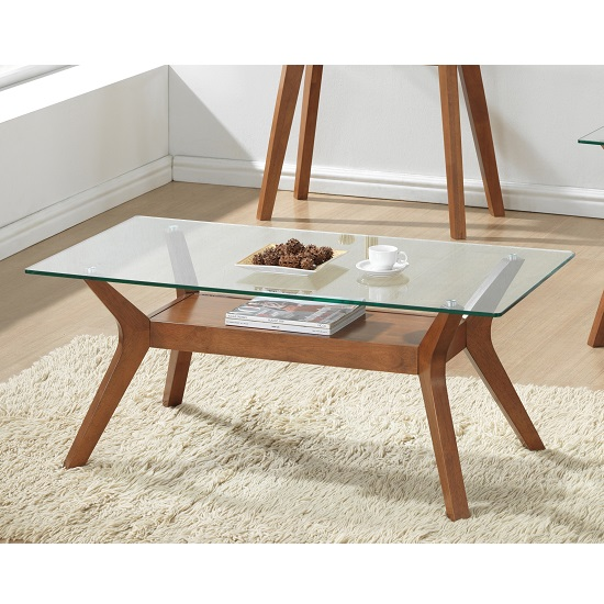 Snowden Glass Coffee Table In Clear With Walnut Base
