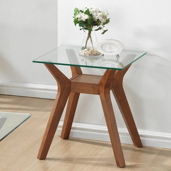 Snowden Glass End Table In Clear With Walnut Base