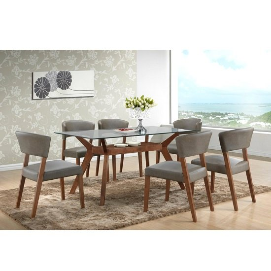 Snowden Glass Dining Table In Walnut With 6 Dining Chairs